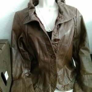 Saks fifth Ave Leather Coat